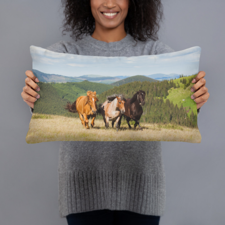 Horses on the hill Basic Pillow
