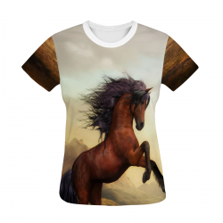 Brown Horse Women's All Over Print T-shirt