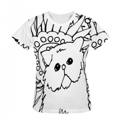 Kitty Sketch Women's All Over Print T-shirt