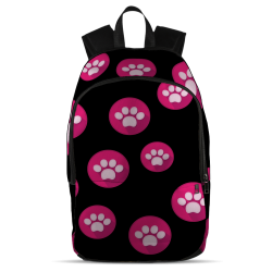 Pink Paw Print Backpack