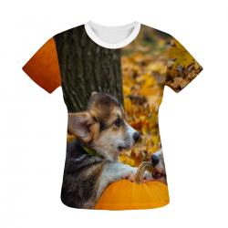 Corgi Pumpkin Women's All Over Print T-shirt