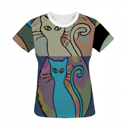 Kitty Reflection Women's All Over Print T-shirt