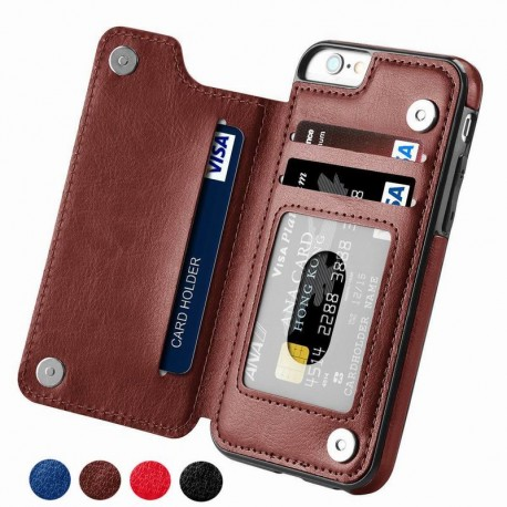Luxury Slim Fit Premium Leather iPhone Wallet Case with Card Slots Plus Shockproof