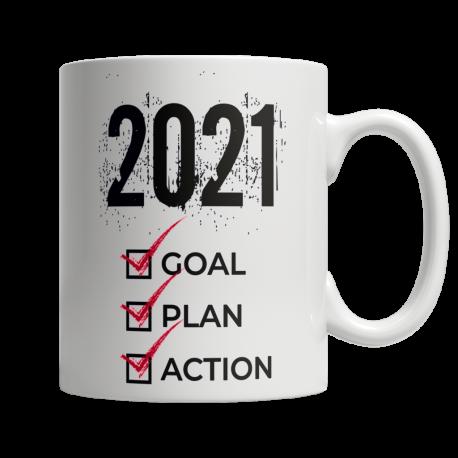 2021 Goal Plan Action - White Mug