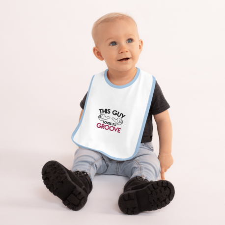 This Guy Loves to Groove Embroidered Baby Bib