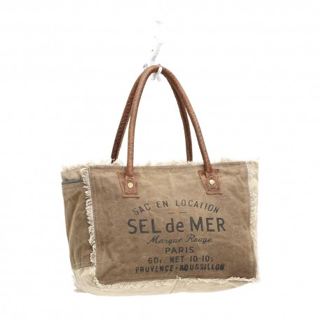Myra Bags Sel De Mer Upcycled Canvas Hand Bag Purse Tote