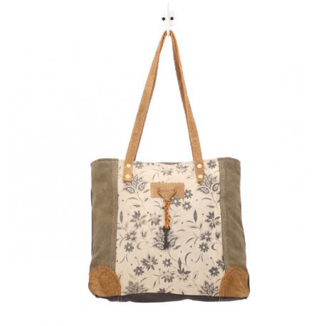 Myra Bag Unique Key Upcycled Canvas & Cowhide Tote Hand Bag