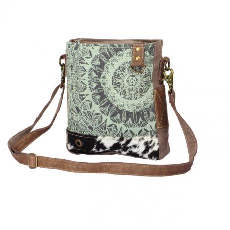 Myra Bag Verdant Canvas, Leather & Hairon Shoulder Bag Handbag Purse