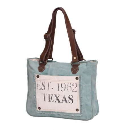 Myra Bag Turquoise Texas Upcycled Canvas and Leather Texas Small Handbag Purse