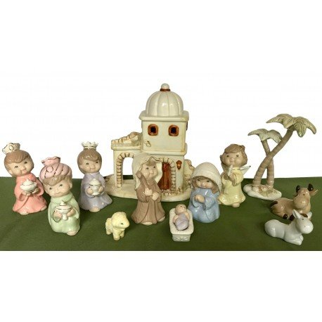 Porcelain Nativity set with Jesus, Mary, Joseph, Crib, Angel, Wise Men, Animals, Palm trees, and Inn