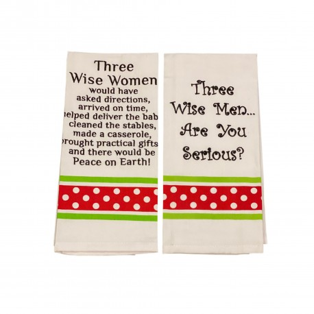 3 Wise Women Would Have Asked Directions Arrived on Time.... and Three Wise Men Christmas Kitchen Towels