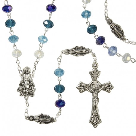 Marian Rosary with Blue, Teal, and Emerald Crystal Beads in Gift Case