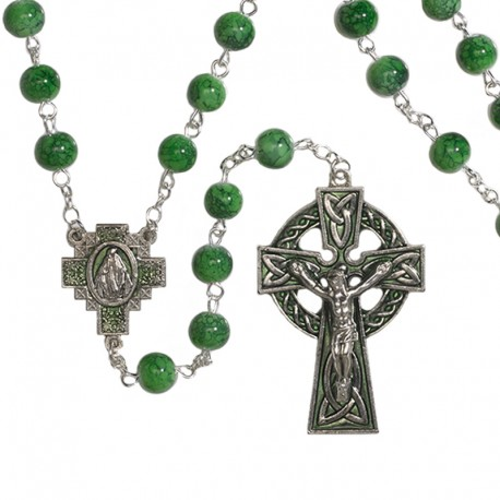 Green Irish Celtic Marble Rosary and Holy Card