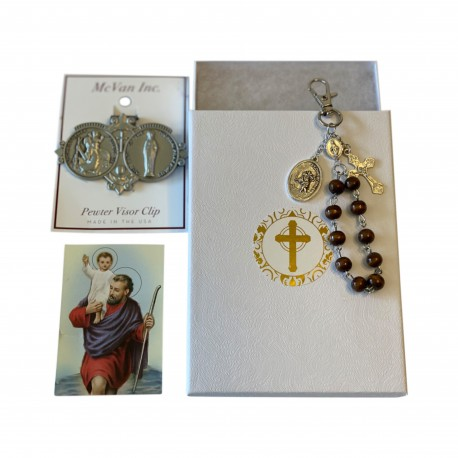 Saint Christoper Medal for Car Catholic Prayer Cards and Rosary Beads for Travel, Rosary Beads Catholic Saint Christopher Medal for Car and Saint Christopher Prayer Card Gift Set