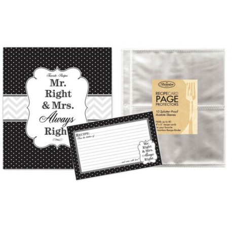 Family Recipe Binder Kit with Brownlow Mr & Mrs Binder, Recipe Cards Plus 10 Bonus Protective Refill Sleeves by Brownlow Gifts