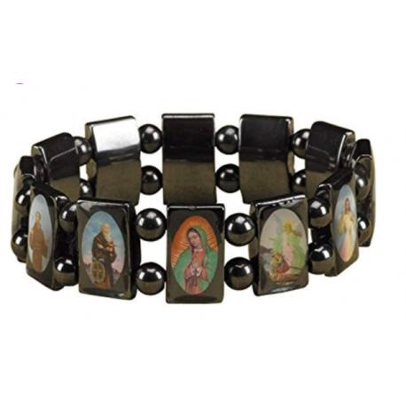 Hematite Devotional Saints 7 Inch Stretch Religious Fashion Bracelet