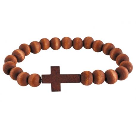 Fashion Jewelry Wooden Cross Bracelet Christian for Men Women, 7 1/2 Inch