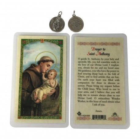 St. Anthony prayer card and medal