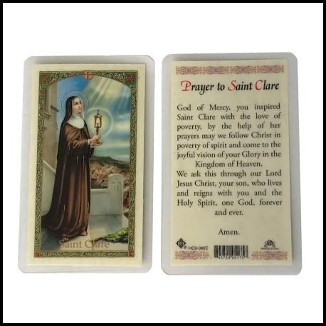 St Clare Laminated Prayer Card