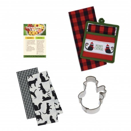 Holly Lines Meowy Catmas Tea Towels Pot Holder Cookie Cutter and Recipes Bundle, Cats Meow Silhouettes 100% Cotton Kitchen Towels, Pot Holder and Cute Towel Set, Christmas Cookie Cutter, Recipes