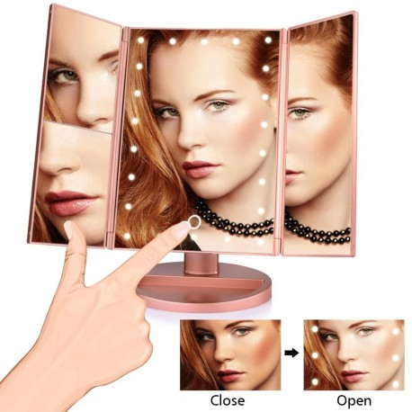 In Style Pieces™ | 22 LED Light Trifold Vanity Mirror. Magnify 1X/2X/3X/10X.