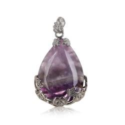 Natural Multicolor Quartz Crystal Stone Teardrop Inlaid Flower Healing Gemstone Necklace Pendant Water Drop DIY Craft Home Decor