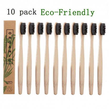 10 Natural Pure Adults Bamboo Toothbrushes Soft-bristle Charcoal Square Wooden Handle Toothbrush Dental Care Tools
