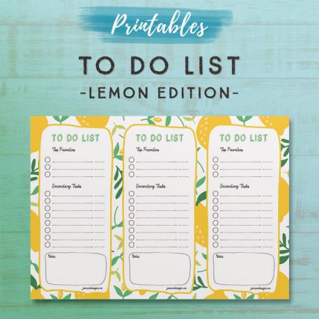To Do List Printable - Lemon Edition