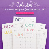 2020 Calendar InDesign Template for Commercial Use