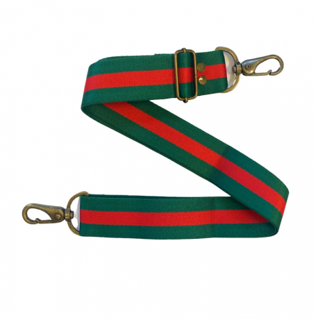 Canvas Bag Straps - Red/Green Stripe