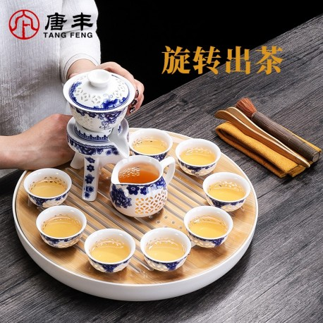 Tea set  automatic tea suit household contracted ceramic teapot kung fu blue and white porcelain cups lazy person