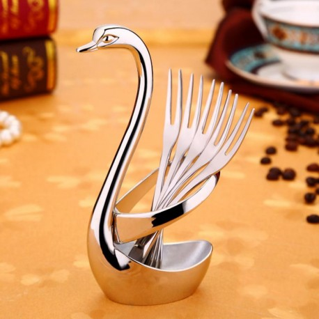 Swan Stainless Steel Dessert Fork Spoon Knife Set Music Theme Tea Stirring Fork Dropshipping Small Kitchen Aid Accessories
