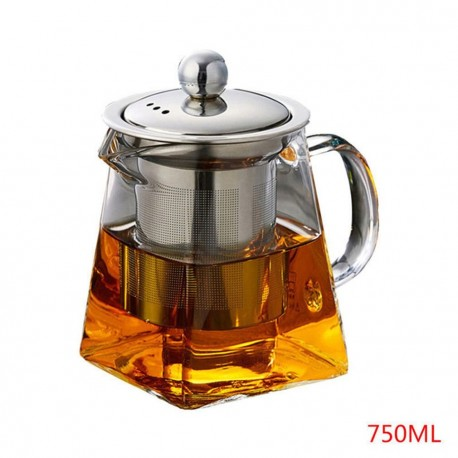 Stylish Square Heat-Resistant Glass Teapot with Stainless Steel Filter, 25oz (750ml)