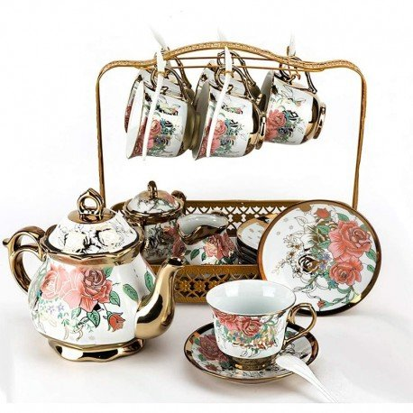 European Vintage Ceramic Tea Set (15-piece) with Decorated with Pink Roses and Gold Fringe