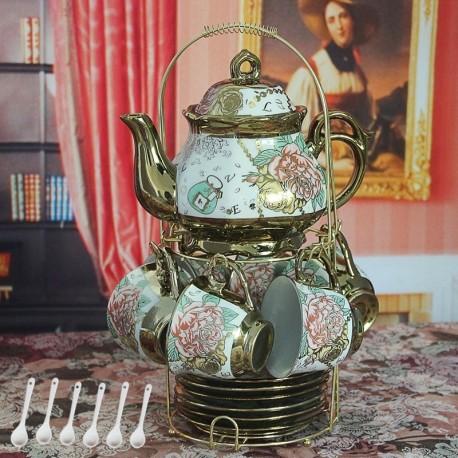 13 Piece European Titanium Gold Tea Set,Rose Printing Vintage Ceramic Tea Set Service Coffee Set