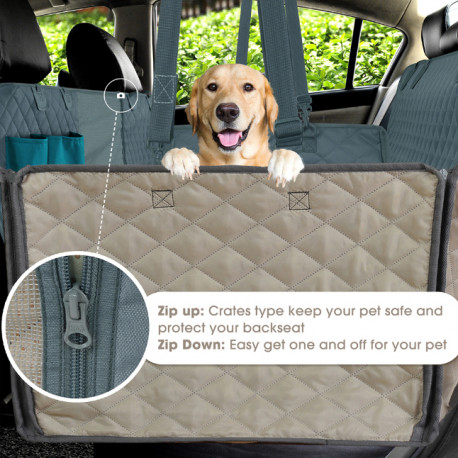 Hammock Style Dog Seat Cover by Living Life with Style opens to accommodate people