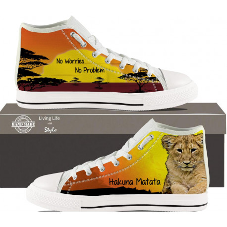 Hakuna Matata Sunset Cub Hightop Sneakers for Women by Living Life with Style