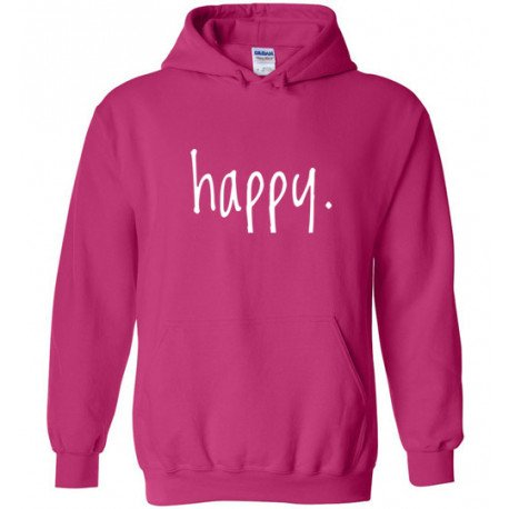 Step In To Happy Adult Hoodie pink/white by Living Life with Style