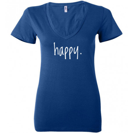 Step In To Happy Ladies V-neck Tee Shirt shown in Blue