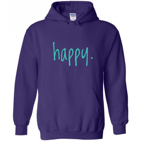 Step In To Happy Adult Hoodie Purple with Teal Lettering