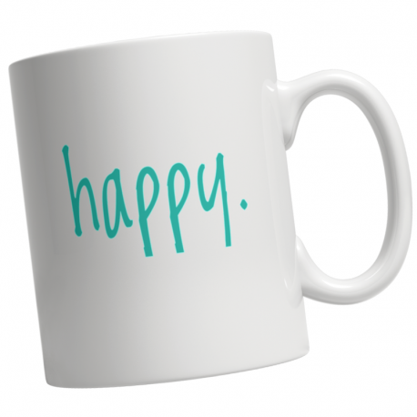 Step In To Happy Coffee Mug by Living Life with Style shown in white.