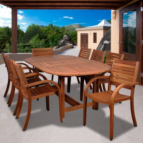 Patio Dining Sets - The Arizona Oval Outdoor Dining Table with extension