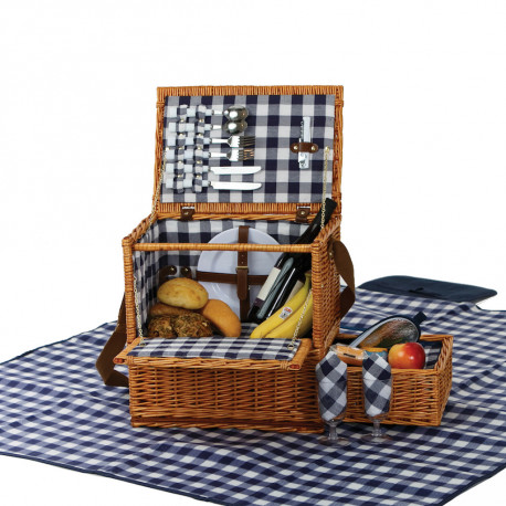 Saratoga Wicker Picnic Basket Set with Blanket