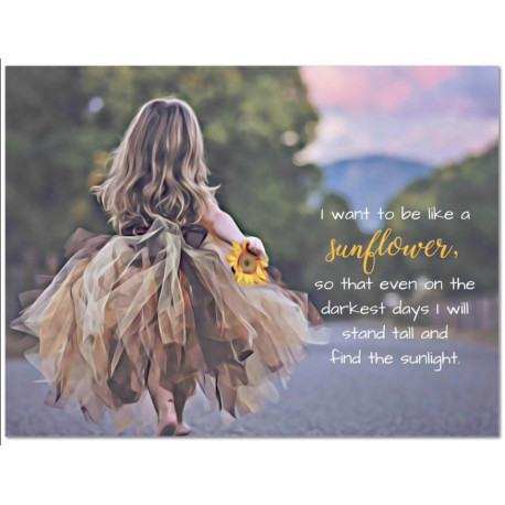 The Sunflower Girl - Canvas Painting - Little Girls Room Decor