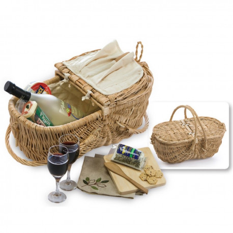 Wicker Picnic Basket Set - Wine & Cheese