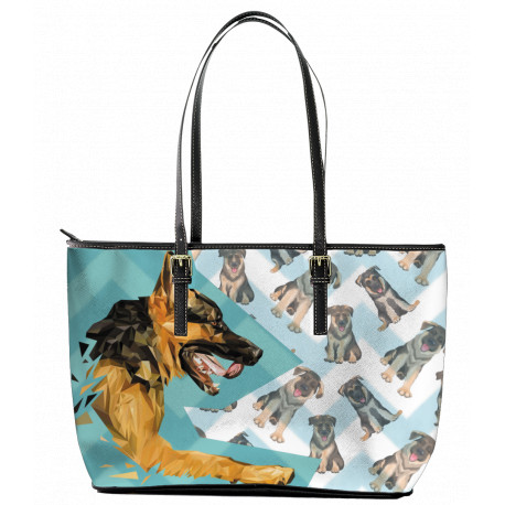 German Shepherd Leather Tote Bag - Black