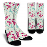Wine Lovers Crew Socks for Men and Women-white