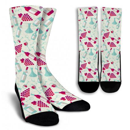 Wine Lovers Crew Socks for Men and Women-white