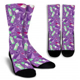 Wine Lovers Crew Socks for Men and Women-Purple