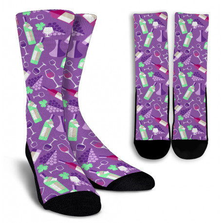 Wine Lovers Crew Socks for Men and Women-Purple